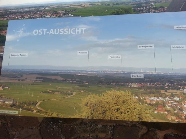 Sicht vom Turm der Burg Niederlauingen in die Rheinebene mit Hinweisschild