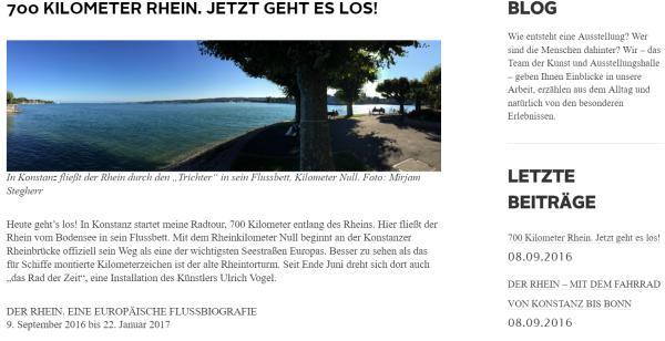 Screenshot des Blogs der Bundeskunsthalle in Bonn.
