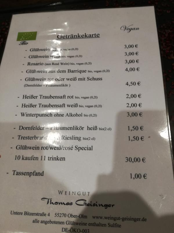 Karte des Weingut Geisinger, Weihnachtsmarkt Mainz